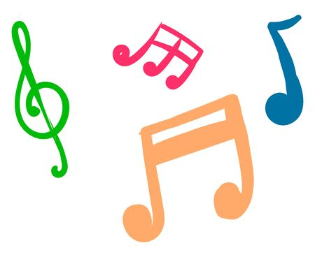 Music notes, illustration, vector on white background. Stock Illustratie