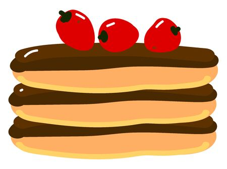 Pancake with strawberry, illustration, vector on white background. Standard-Bild - 132722887