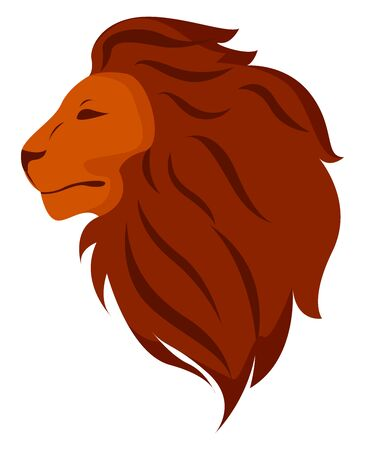 Lions head, illustration, vector on white background.