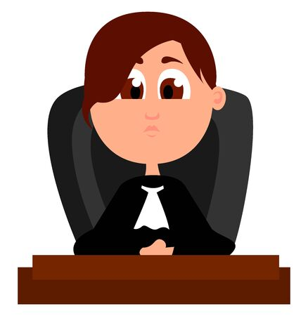 Woman judge, illustration, vector on white background. Banque d'images - 132943453