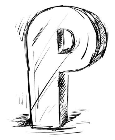 Letter P, illustration, vector on white background.