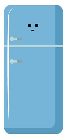 Blue fridge, illustration, vector on white background.