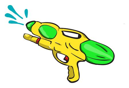 Water gun, illustration, vector on white background. Vettoriali