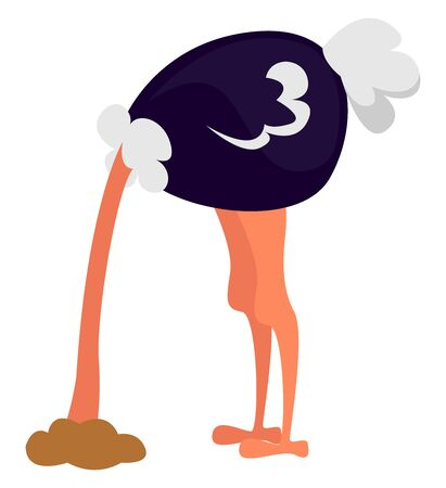 Ostrich with head in sand, illustration, vector on white background.
