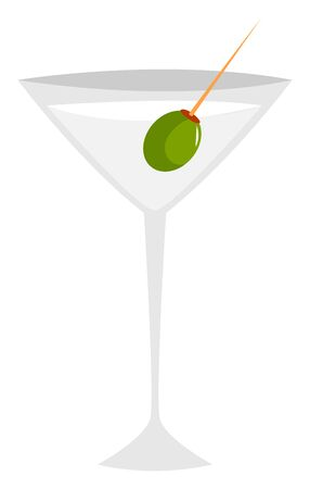Martini with olive, illustration, vector on white background. 向量圖像