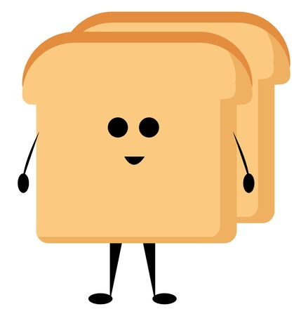 Cute toast, illustration, vector on white background.