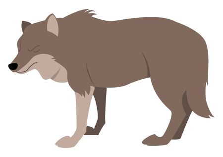 Fat wolf, illustration, vector on white background. Ilustração