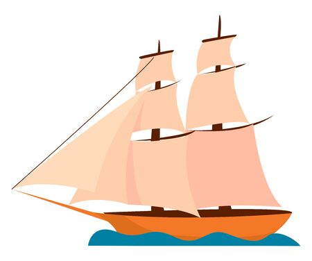 Big ship, illustration, vector on white background.