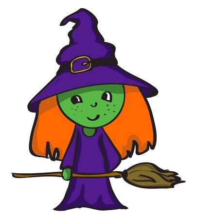 green witch, illustration, vector on white background. Illustration