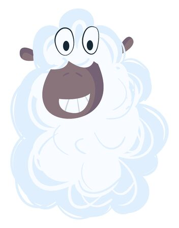 Cute sheep, illustration, vector on white background.