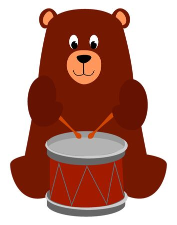 Bear with drums, illustration, vector on white background. Illustration