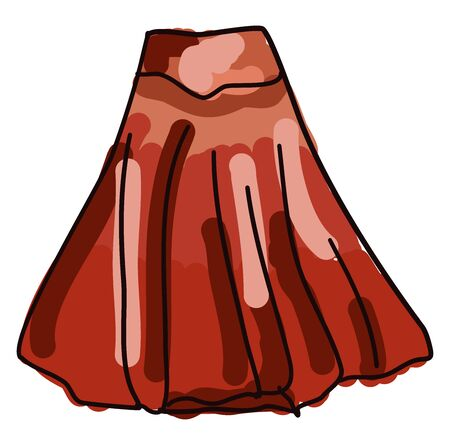 Red skirt, illustration, vector on white background. Illustration