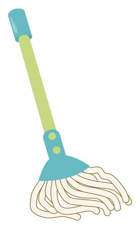 Blue mop, illustration, vector on white background.