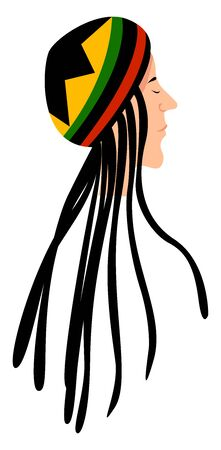 Rasta man, illustration, vector on white background.