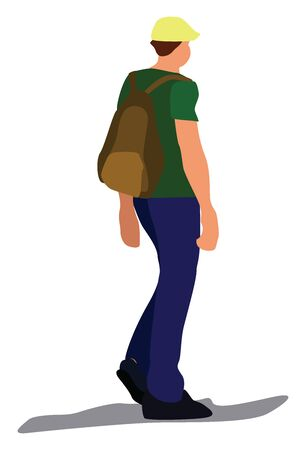 Boy with backpack, illustration, vector on white background.