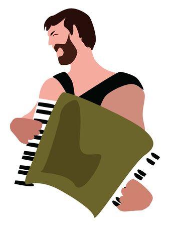 Accordionist, illustration, vector on white background.
