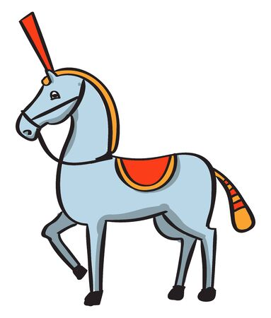 Circus horse, illustration, vector on white background.