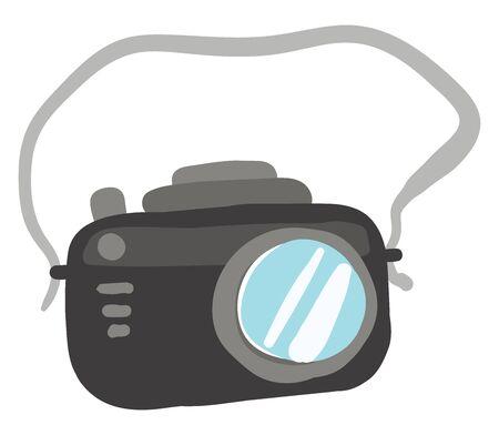 Black camera, illustration, vector on white background.