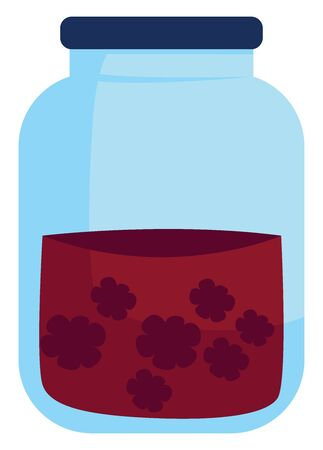 Berry jam, illustration, vector on white background. Çizim