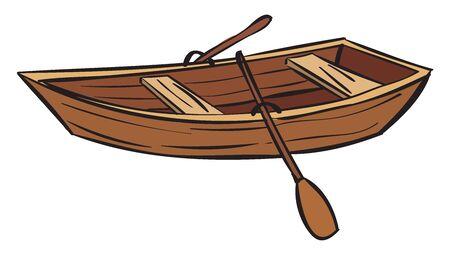 Wooden boat, illustration, vector on white background. Stock Illustratie