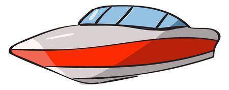Fast boat, illustration, vector on white background.