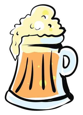 Beer drawing, illustration, vector on white background.