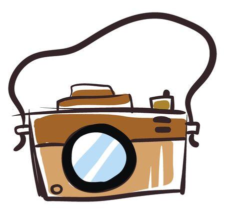 Retro camera, illustration, vector on white background. Standard-Bild - 132846327
