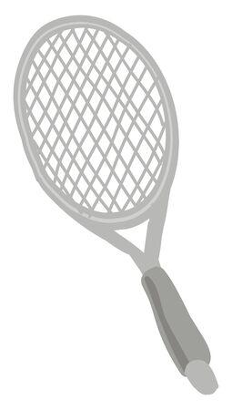 Tennis racket, illustration, vector on white background. 向量圖像