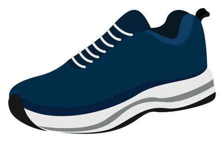 Blue sneaker, illustration, vector on white background. Иллюстрация