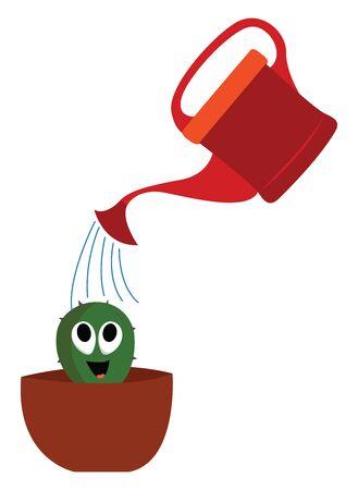 Happy little cactus, illustration, vector on white background. Иллюстрация