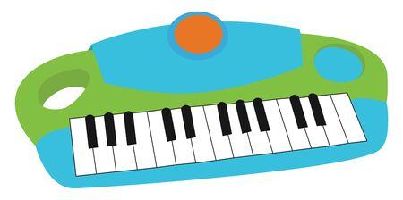 Childrens synthesizer, illustration, vector on white background.
