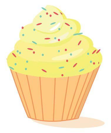 Yellow cake, illustration, vector on white background. Ilustração