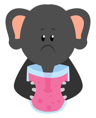 Elephant drinking, illustration, vector on white background.