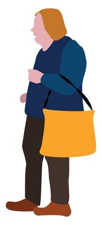 Granny with bag, illustration, vector on white background. Illustration
