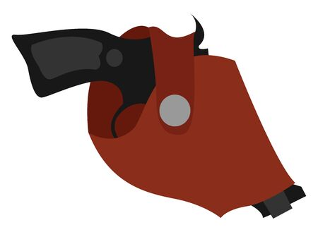 Holster gun, illustration, vector on white background.