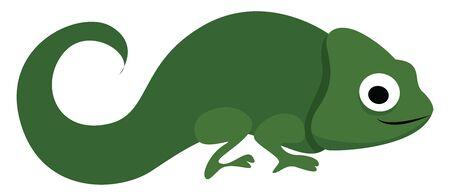 Green chameleon, illustration, vector on white background.