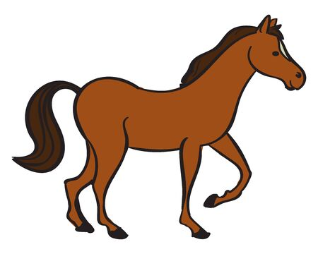 Big horse, illustration, vector on white background.