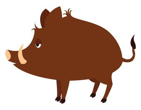 Wild boar, illustration, vector on white background. Stock Vector - 132846687