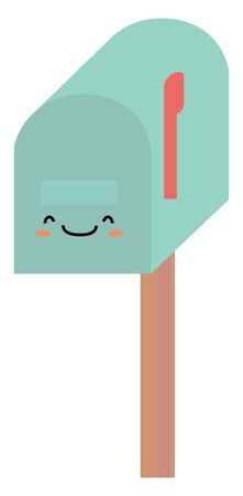 Happy mailbox, illustration, vector on white background. Illustration