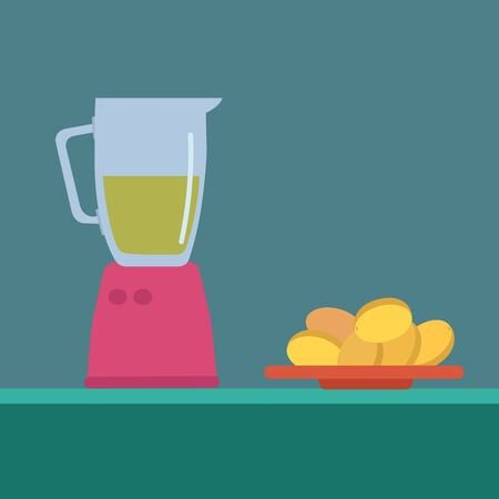 Juicer and apricots, illustration, vector on white background.