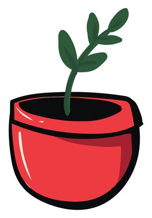 Plant in red pot, illustration, vector on white background.