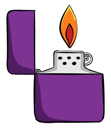 Purple lighter, illustration, vector on white background. Stock Illustratie