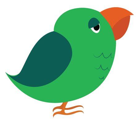 Green parrot, illustration, vector on white background. Stock Illustratie