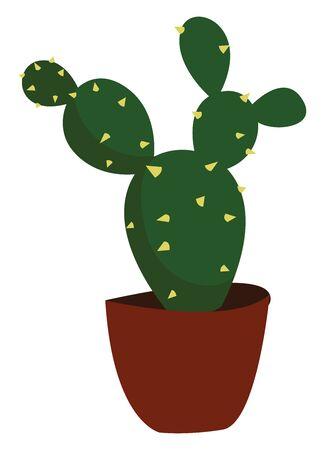 Little cactus in pot, illustration, vector on white background. Ilustração