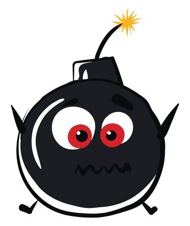 Crazy bomb, illustration, vector on white background.