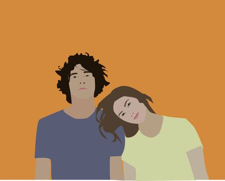 Couples, illustration, vector on white background. Иллюстрация