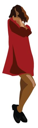 Girl in red, illustration, vector on white background.  イラスト・ベクター素材