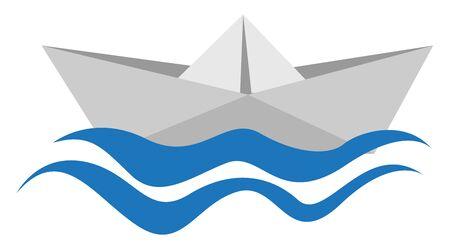 Paper boat, illustration, vector on white background. Banque d'images - 132845985