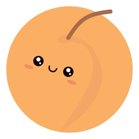 Cute peach, illustration, vector on white background. Ilustração