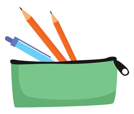 Pens in case, illustration, vector on white background. Ilustrace